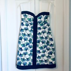 Lilly Pulitzer Navy Ginkgo Leaves Strapless Dress